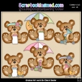 Bumble Bears Little Baby ClipArt Collection