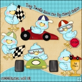 Tiny Tweets Race Cars ClipArt Graphic Collection