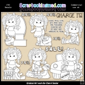 Dottie Goes Shopping Colour Your Own ClipArt RESALE SET