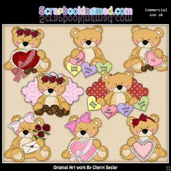 Sweet Stuffins Valentine Bears ClipArt Collection