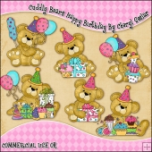 Cuddly Bears Happy Birthday ClipArt Graphic Collection