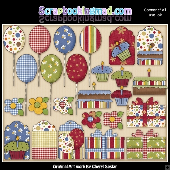Birthday Tags And Elements ClipArt Graphic Collection
