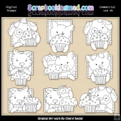 Doggy Squares Cupcakes Digital Stamp Graphic Collection