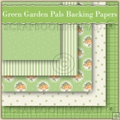 5 Green Garden Pals Backing Papers Download (C124)