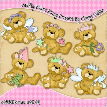 Cuddly Bears Fairy Princess ClipArt Graphic Collection