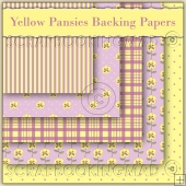 5 Yellow Pansie Backing Papers Download (C114)