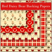 5 Red Daisy Bear Backing Papers Download (C95)