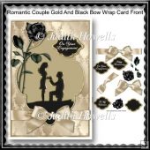Romantic Couple Gold And Black Bow Wrap Card Front