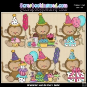 Baby Monkey Birthday ClipArt Graphic Collection
