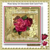 Rose Spray On Decorated Gold Card Front