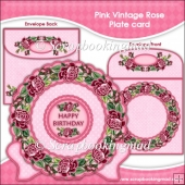 Red Vintage Rose Plate Card
