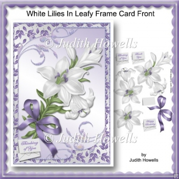 White Lilies In Leafy Frame Card Front