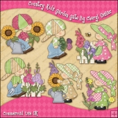 Country Kids Garden Gate ClipArt Graphic Collection