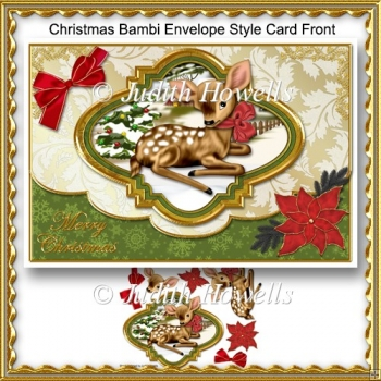 Christmas Bambi Envelope Style Card Front