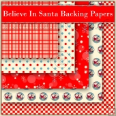 5 Christmas Believe In Santa Backing Papers Download (C181)