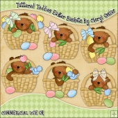 Tattered Teddies Easter Baskets ClipArt Graphic Collection