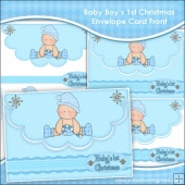 Baby Boy's 1st Christmas Envelope Card Front