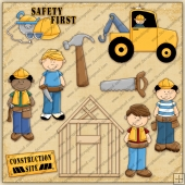 Boys A Building ClipArt Graphic Collection