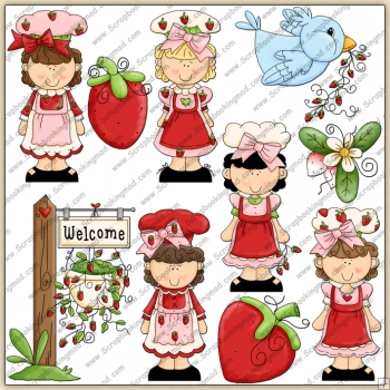 Strawberry Cuties ClipArt Graphic Collection