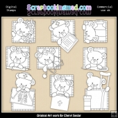Bears Medical Squares Digital Stamp Graphic Collection
