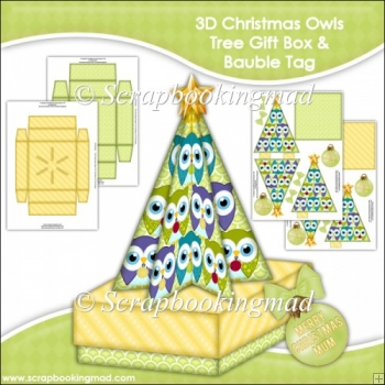 3D Christmas Owls Tree Gift Box