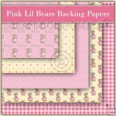 5 Pink Lil Bears Backing Papers Download (C156)
