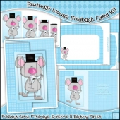 Birthday Mouse Foldback Card, Envelope & Backing Paper