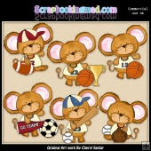 Mouse House Team Players ClipArt Collection