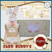 Bunny With Flowers Decoupage Shaped Easel Card Kit