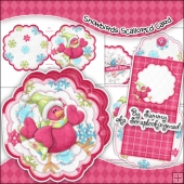Snowbirds Scalloped Card, Insert & Envelope