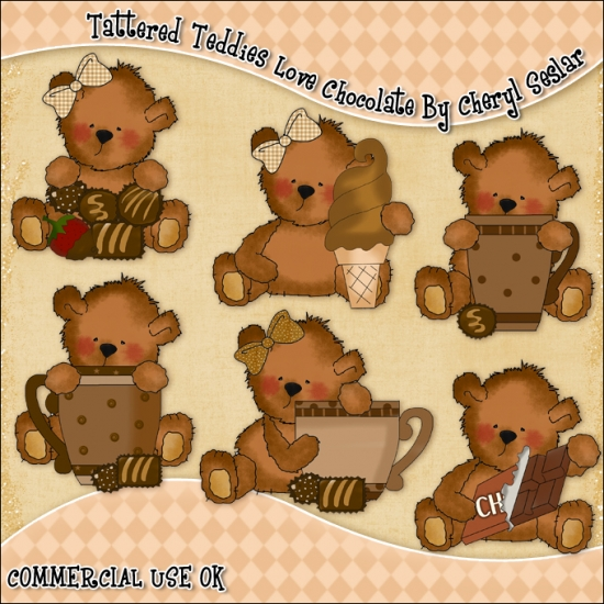 Tattered Teddies Love Chocolate ClipArt Graphic Collection - Click Image to Close