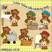 Toddler Teddies Little Artist ClipArt Graphic Collection