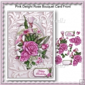 Pink Delight Rose Bouquet Card Front