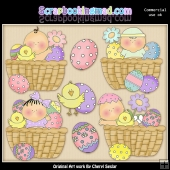 Basket Of Easter Blessings ClipArt Graphic Collection