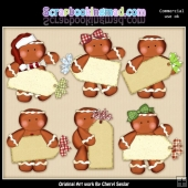 Gingerbread Christmas Tags ClipArt Collection