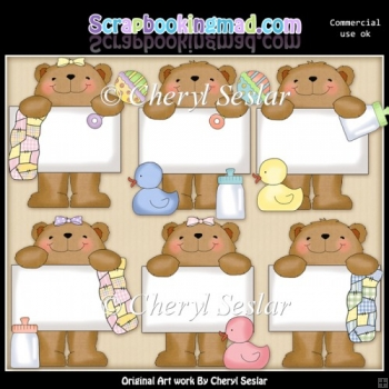 Bulletin Bear Babies ClipArt Collection