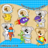 Pups In Space ClipArt Graphic Collection