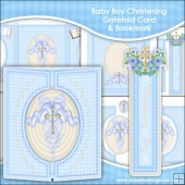Baby Boy Christening Gatefold Card & Bookmark
