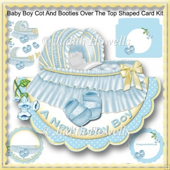 Baby Boy Cot And Booties Over The Top Shaped Card Kit