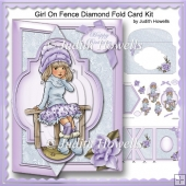 Girl On Fence Diamond Fold Card Kit