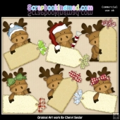 Moose Christmas Tags ClipArt Collection