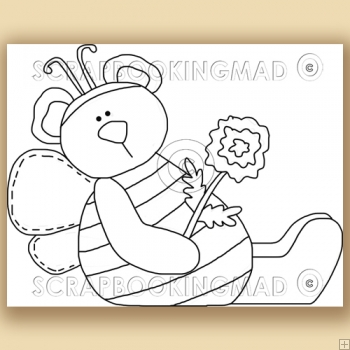 Flower Honey Bear - Digital Stamps