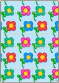A4 Backing Papers Single - Blue Flowers - REF_BP_167