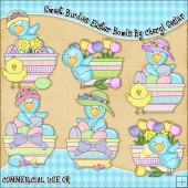 Sweet Birdies Easter Bowls ClipArt Graphic Collection
