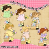 Pigtail Polly Easter Baskets ClipArt Graphic Collection