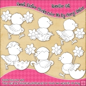 Sweet Easter Chicks Colour Your Own Clip Art RESALE SET