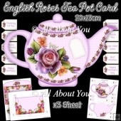 English Roses Tea Pot Card