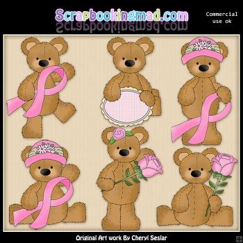 Stuffed Bears Breast Cancer ClipArt Graphic Collection