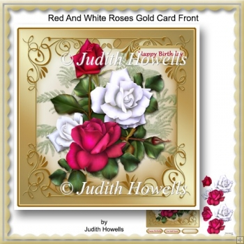 Red And White Roses Gold Card Front