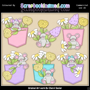 Denim and Blooms Mice ClipArt Graphic Collection